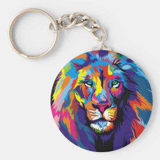 Färgrikt lejont rund nyckelring