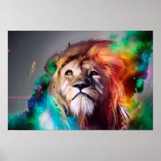 Färgrikt lejont tittar upp fjäderutrymmeuniversum poster