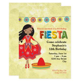 Färgrikt mexicanskt Fiestabarns födelsedagparty 12,7 X 17,8 Cm Inbjudningskort