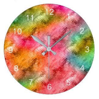 Färgrikt mönster för Crystal exponeringsglas Stor Klocka