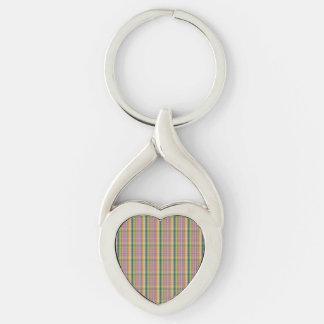 Färgrikt mönster för rosaabstraktpläd twisted heart silverfärgad nyckelring