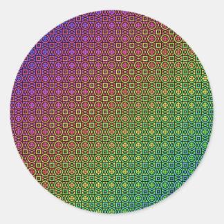 färgrikt nordiskt mönster runt klistermärke