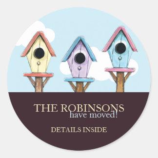 Färgrikt nytt adress meddelande för Birdhouses | Runt Klistermärke