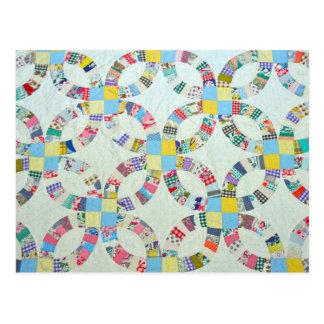 Färgrikt patchworktäcke vykort