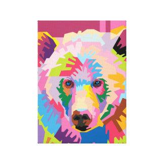 Färgrikt porträtt för popkonstbjörn canvastryck