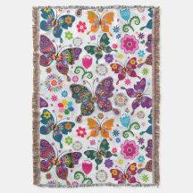 Färgrikt Retro fjärils- och blommamönster Dekorativ Filt