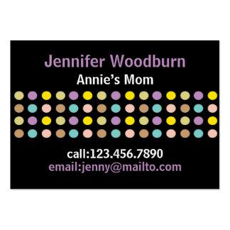 Färgrikt retro pricker på svart mammavisitkortar set av breda visitkort