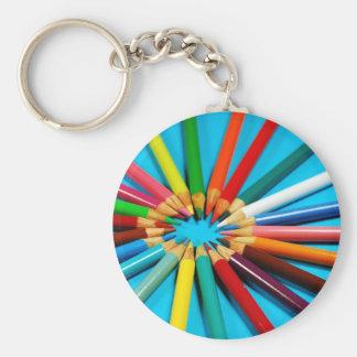 Färgrikt rita kritormönster rund nyckelring