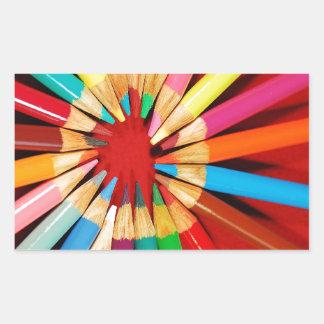 Färgrikt rita kritortrycket rektangulärt klistermärke