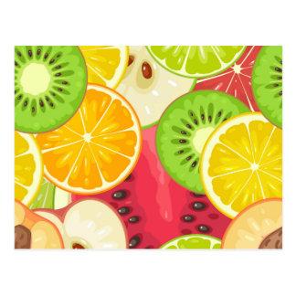 Färgrikt roligt fruktmönster vykort
