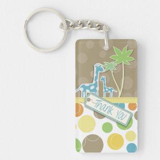 Färgrikt tacka dig giraff- och trädnyckelringar nyckelring