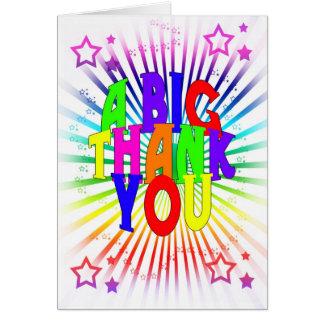 Färgrikt tackkort - ett stort tack - hälsningskort