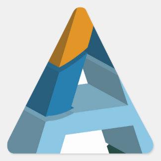 Färgrikt tredimensionellt stilsortsbrev a triangelformat klistermärke