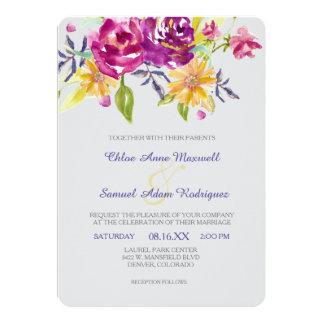 Färgrikt vattenfärgbukettbröllop 12,7 x 17,8 cm inbjudningskort