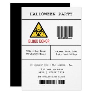 Farlig blodgivare för halloween fest 12,7 x 17,8 cm inbjudningskort