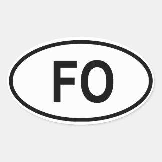 """Faroe Island """"FO """", Ovalt Klistermärke"""