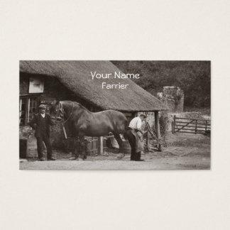 Farrier som skor en hästvisitkort visitkort