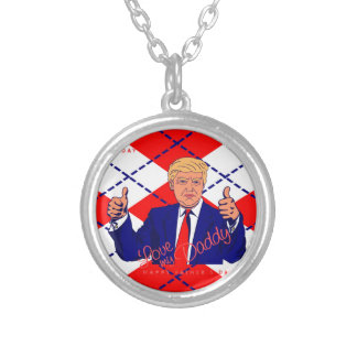 fars dag Donald Trump Silverpläterat Halsband
