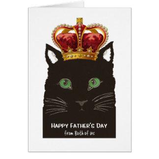 Fars dag från båda av oss svart katt med kronan hälsningskort