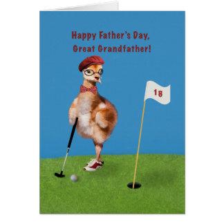 Fars dag stor- farfar, fågel som leker Golf Hälsningskort