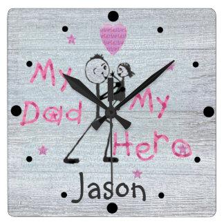 Fars dag tar tid på min hjältepappa & dotter fyrkantig klocka