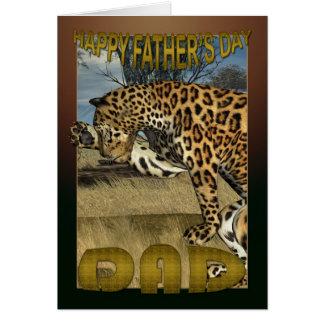 Fars dagkort med leoparden hälsningskort