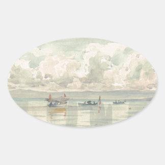 Fartyg av Francois Bocion gummilacka Leman Ovalt Klistermärke