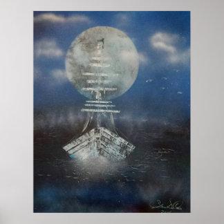 Fartyg i månsken poster