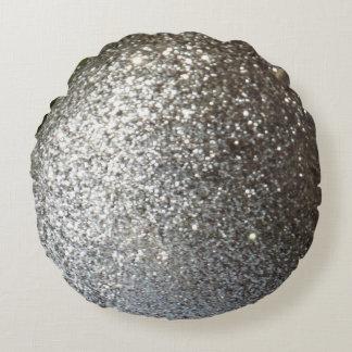 Fast silverglitterslätt rund kudde