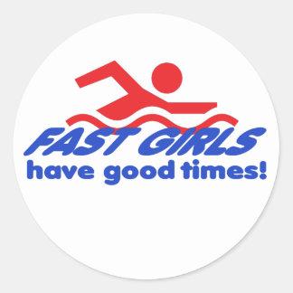 Fasta flickarundaklistermärkear runt klistermärke