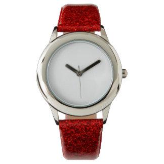 Fäster rött glitter för barn klockan armbandsur