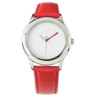 Fäster rött läder för barnrostfritt stål klockan armbandsur