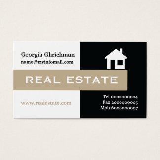 Fastighetsvart, vit, slå beige visitkort