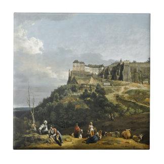 Fästningen av Konigstein av Bernardo Bellotto Kakelplatta