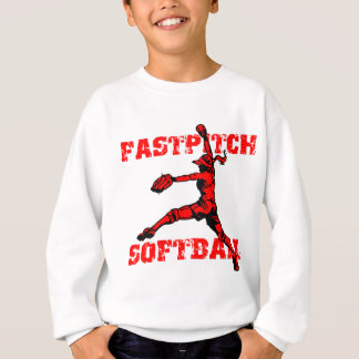 Fastpitch bekymrat rött t-shirt