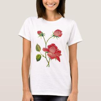 Faux broderade djupt - rosa ros tshirts