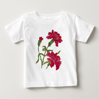 Faux broderade röda nejlikor tee shirt