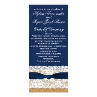 FAUXburlap, lantlig bröllopsprogramtealängd Reklamkort