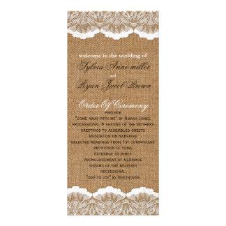 FAUXburlap- och snörebröllopsprogram Ställkort