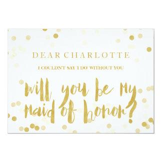 Fauxen som guld- konfettiar ska dig, är min maid 12,7 x 17,8 cm inbjudningskort