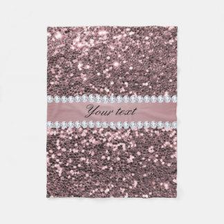 Fauxglitter och diamanter för trendig rosa guld- fleecefilt