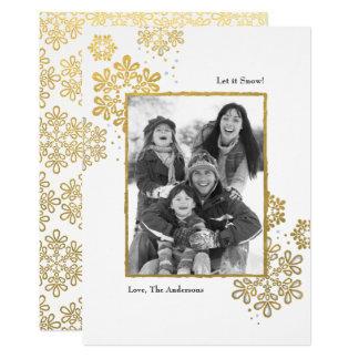 Fauxguld låt det snöa! Fotojulkort 12,7 X 17,8 Cm Inbjudningskort