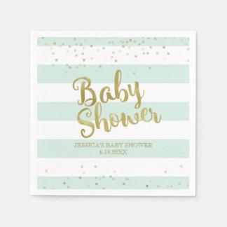 Fauxguld omkullkastar baby shower för pappersservett