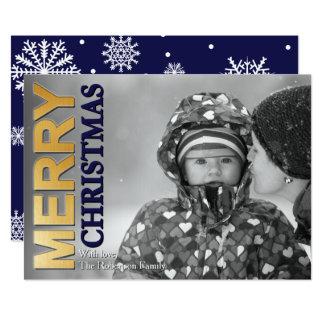 Fauxguld omkullkastar god julfotokortet 12,7 x 17,8 cm inbjudningskort