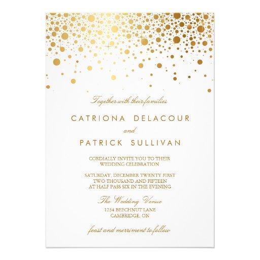 Fauxguld omkullkastar konfettielegant bröllopinbju inbjudningskort