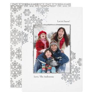 Fauxsilver låt det snöa! Fotojulkort 12,7 X 17,8 Cm Inbjudningskort