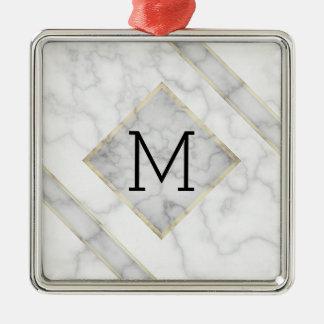 Fauxvitmarmor & beige alabaster- med monogramen julgransprydnad metall