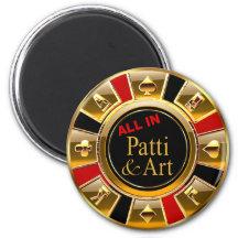 Favör för Las Vegas VIP svart guld- röd kasinochip Magnet Rund 5.7 Cm