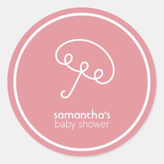 Favör för paraplybaby shower (rosa) runt klistermärke