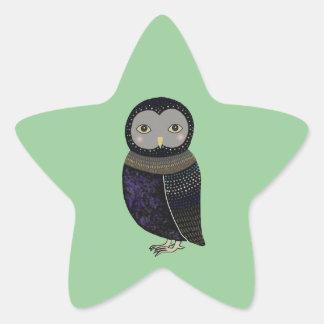 Favör för ugglaskogsmarkbaby stjärnformat klistermärke